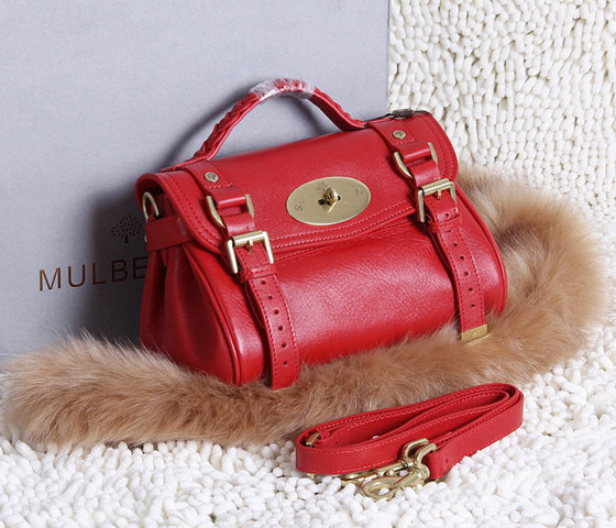 2015 New Mulberry Small Alexa Satchel Bag Red Leather