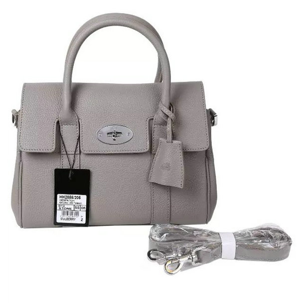 2015 New Mulberry Small Bayswater Satchel in Grey Small Classic Grain Leather