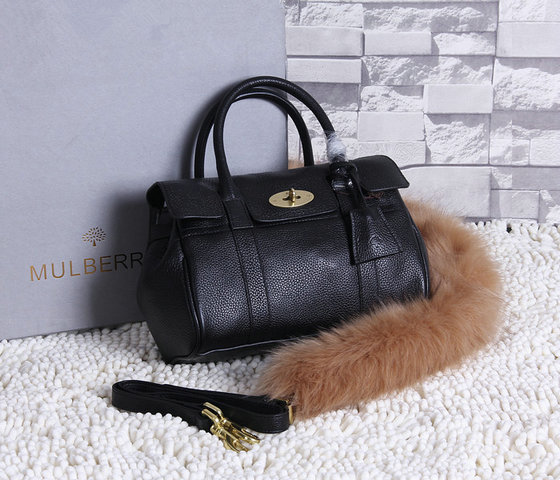 2015 New Mulberry Small Bayswater Satchel in Black Grainy Leather