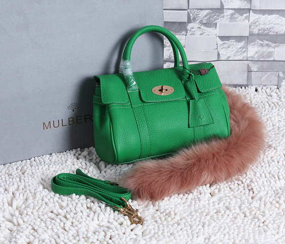 2015 New Mulberry Small Bayswater Satchel in Green Grainy Leather