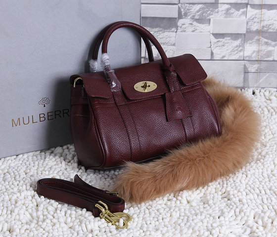 2015 New Mulberry Small Bayswater Satchel in Oxblood Grainy Leather