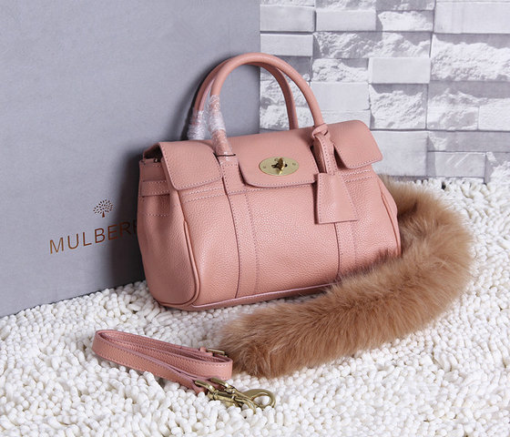 2015 New Mulberry Small Bayswater Satchel in Ballet Pink Grainy Leather
