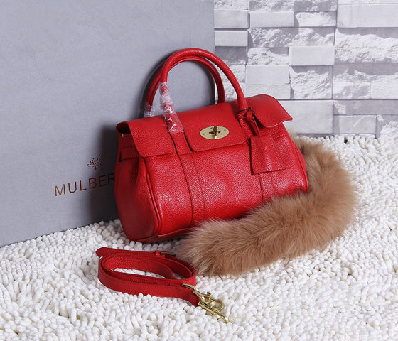2015 New Mulberry Small Bayswater Satchel in Red Grainy Leather