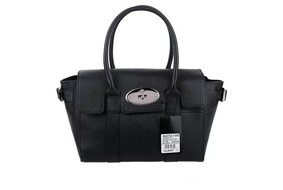 2015 Latest Mulberry Small Bayswater Buckle Bag in Black Small Grain Leather