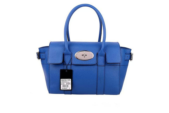 2015 Latest Mulberry Small Bayswater Buckle Bag in Sea Blue Small Grain Leather