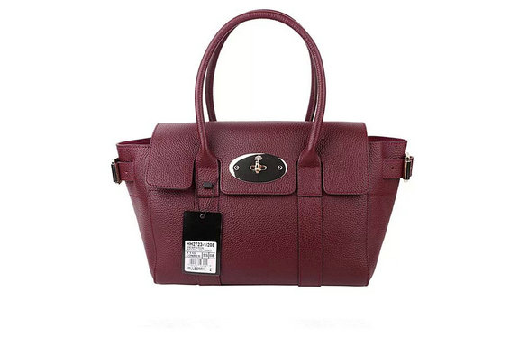 2015 Latest Mulberry Small Bayswater Buckle Bag in Oxblood Small Grain Leather