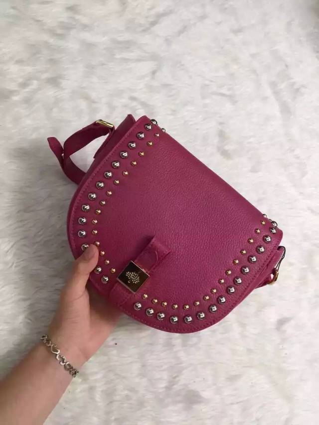 2015 Autumn/Winter Mulberry Small Tessie Satchel Fuchsia with rivets detailing