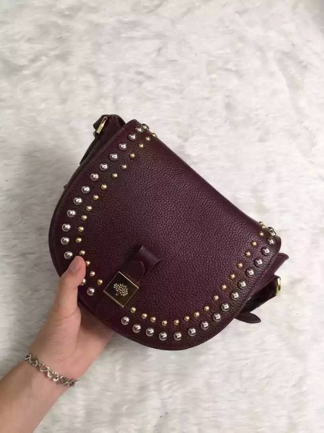 2015 Autumn/Winter Mulberry Small Tessie Satchel Oxblood with rivets detailing