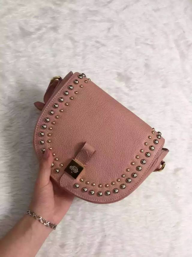 2015 Autumn/Winter Mulberry Small Tessie Satchel Pink with rivets detailing