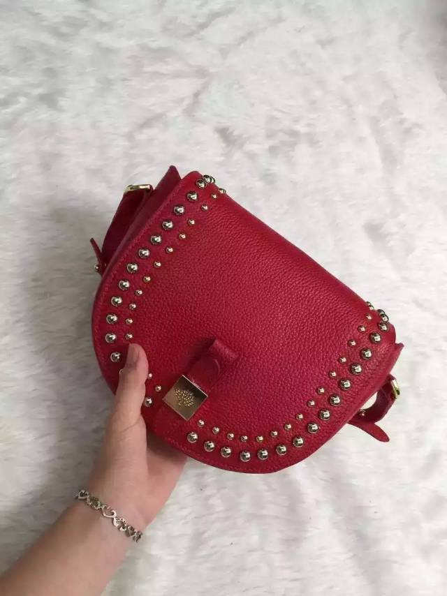 2015 Autumn/Winter Mulberry Small Tessie Satchel Red with rivets detailing