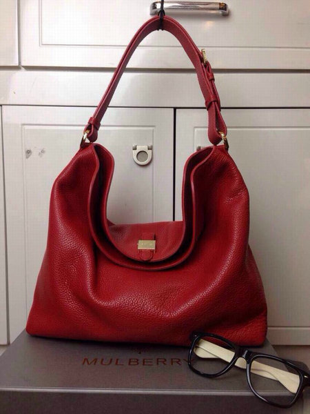 Free Gift for order amount over 450GBP-Mulberry Tessie Hobo in Red Soft Small Grain
