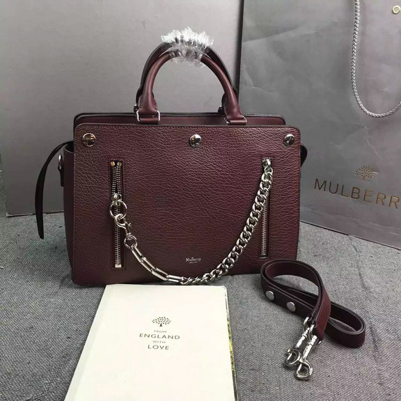 2016 Autumn/Winter Mulberry Chester Bag Burgundy Leather with Chain & Zips Details