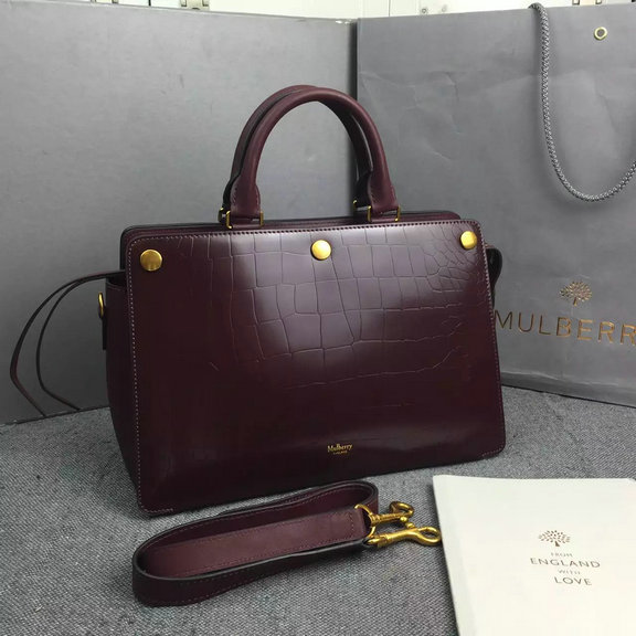 2016 Autumn/Winter Mulberry Chester Bag in Burgundy Polished Croc Leather