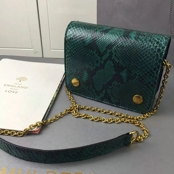 2016 Autumn/Winter Mulberry Clifton Crossbody Bag in Emerald Python & Nappa Leather