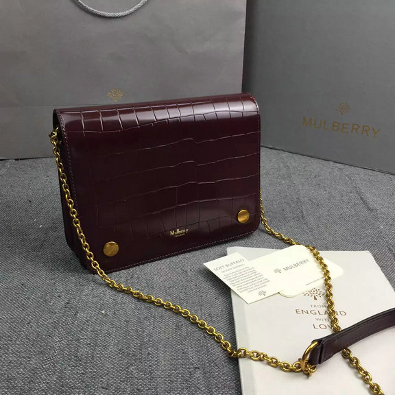 2016 Autumn/Winter Mulberry Clifton Crossbody Bag in Burgundy Polished Croc Leather