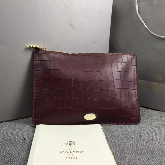 2016 Spring Mulberry Clutch Bag in Oxblood Deep Embossed Croc Print