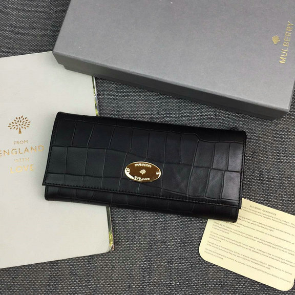 2016 Spring Mulberry Continental Wallet in Black Croc Leaher