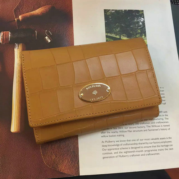 2016 Spring Mulberry French Purse in Camel Croc Leaher