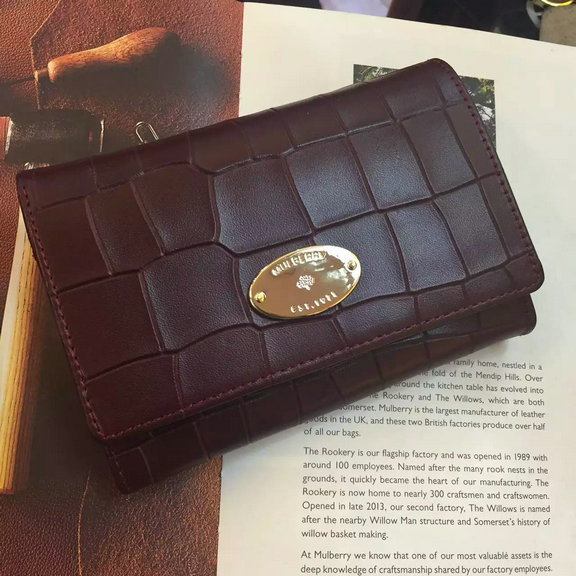 2016 Spring Mulberry French Purse in Oxblood Croc Leaher