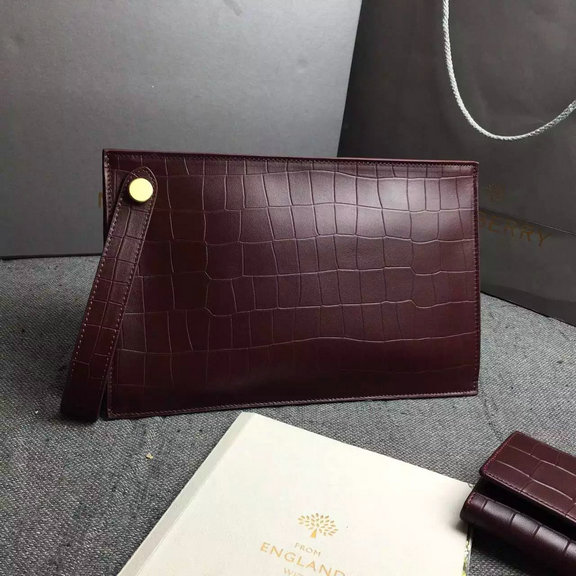 2016 Spring Mulberry Small Kite Clutch Bag in Oxblood Deep Embossed Croc Print Leather
