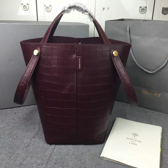 2016 Spring Mulberry Kite Tote Bag in Oxblood Deep Embossed Croc Print Leather