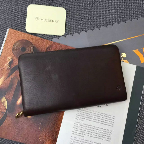 2015 Men's Mulberry Leather Document Holder in Chocolate