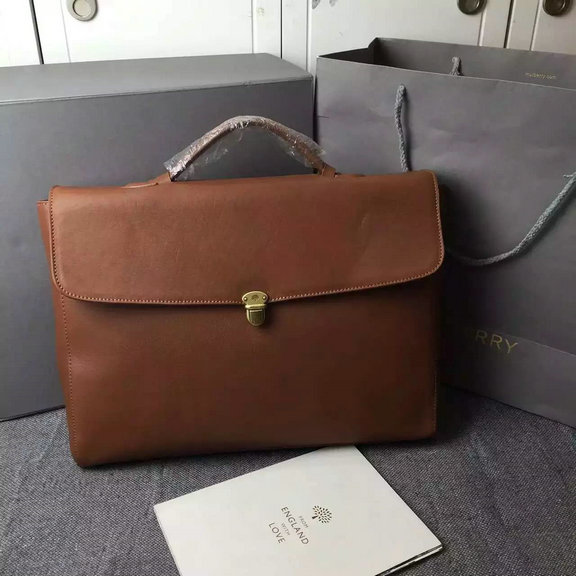 2016 Mens Mulberry Farringdon Pushlock Briefcase in Oak Natural Leather