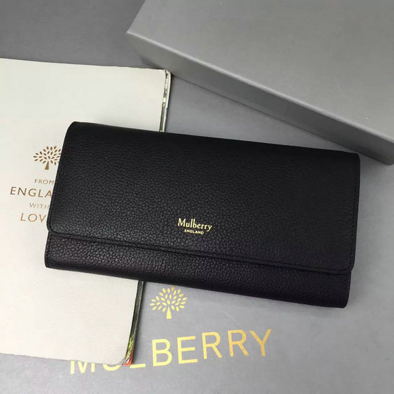 2016 Autumn/Winter Mulberry Continental Wallet Black Small Classic Grain
