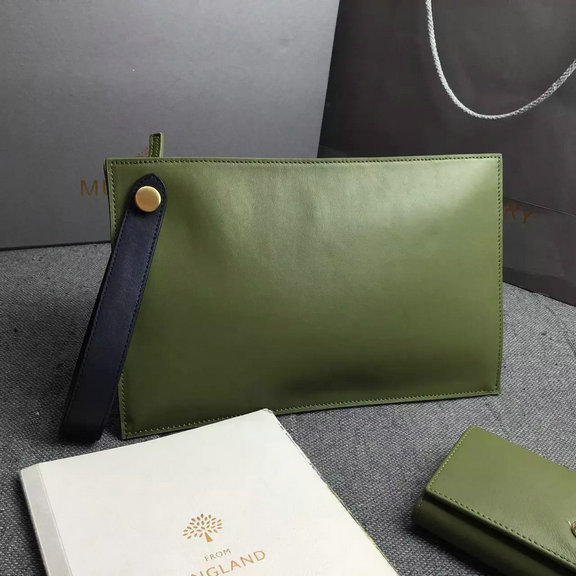 2016 Spring Mulberry Small Kite Clutch Bag in Khaki & Midnight Flat Calf Leather