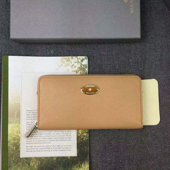 2016 Spring Mulberry Kite Zip Around Wallet in Apricot Flat Calf Leather