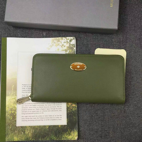 2016 Spring Mulberry Kite Zip Around Wallet in Khaki Flat Calf Leather