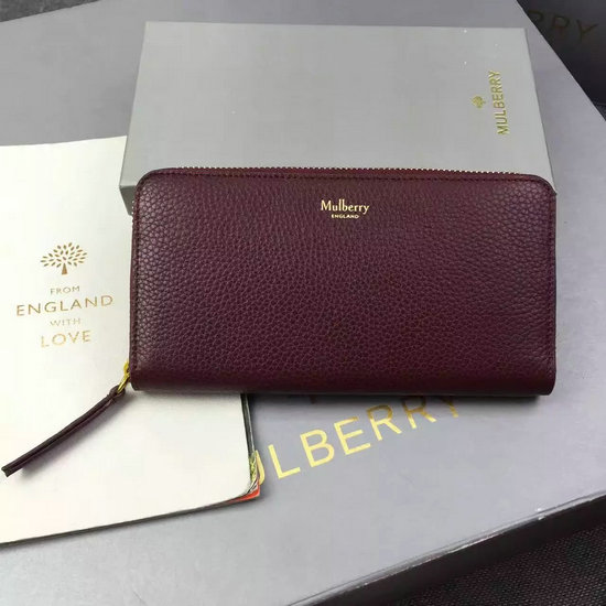 2016 Autumn/Winter Mulberry Zip Around Wallet Oxblood Small Classic Grain