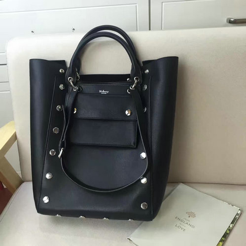 2016 A/W Mulberry Maple Tote Bag Black Smooth Calf with Studs