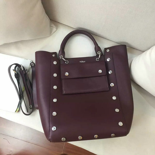 2016 A/W Mulberry Maple Tote Bag Oxblood Smooth Calf with Studs