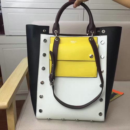2016 A/W Mulberry Maple Tote Bag Black, Oxblood, Canary Smooth Calf & White Shiny Goat with Studs
