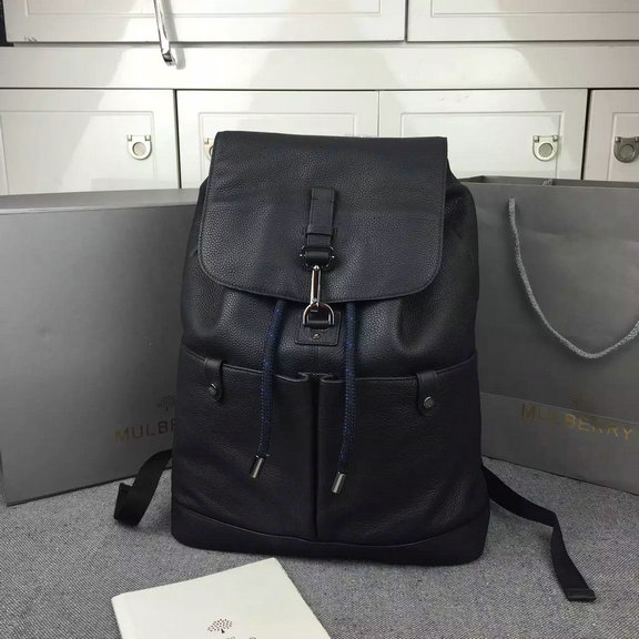 2016 Mens Mulberry Marty Backpack in Black Calfskin Leather
