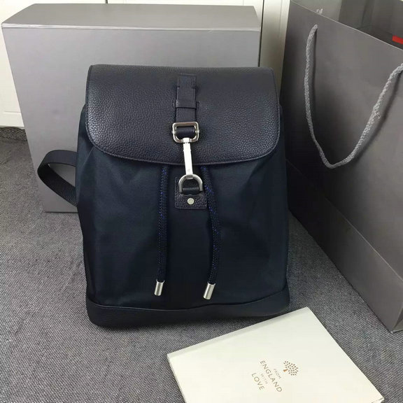 2016 Mens Mulberry Small Marty Backpack in Midnight Blue Calfskin and Nylon