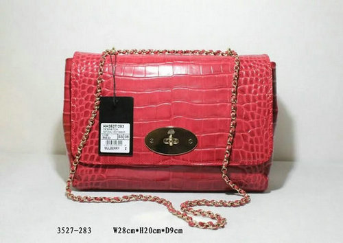 2016 Spring Mulberry Medium Lily Bag in Red Croc Leather