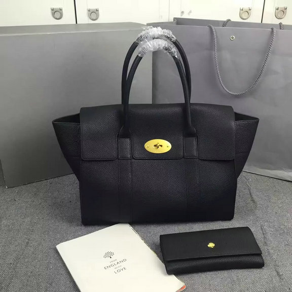 2016 A/W Mulberry New Bayswater Black Natural Grain Leather
