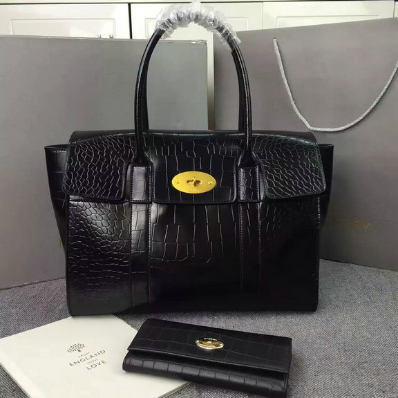 2016 A/W Mulberry New Bayswater Black Polished Embossed Croc