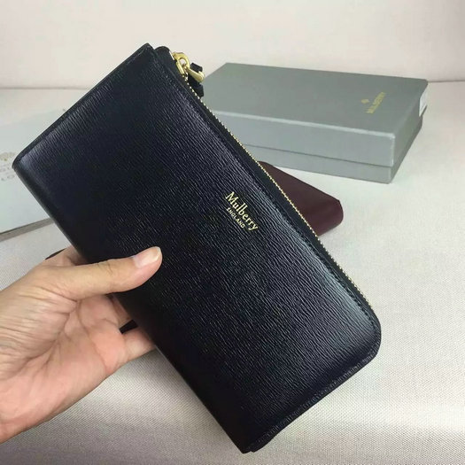 2016 A/W Mulberry Part Zip Wallet Black & Emerald Printed Goat