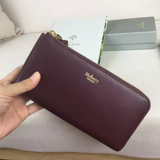 2016 A/W Mulberry Part Zip Wallet Burgundy & Parchment Printed Goat