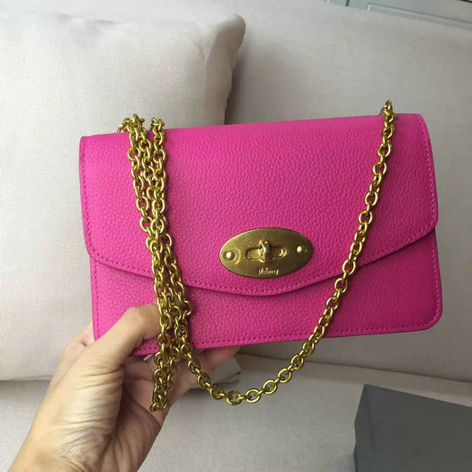 2016 A/W Mulberry Postman's Lock Clutch Bag Hot Pink Grain Leather