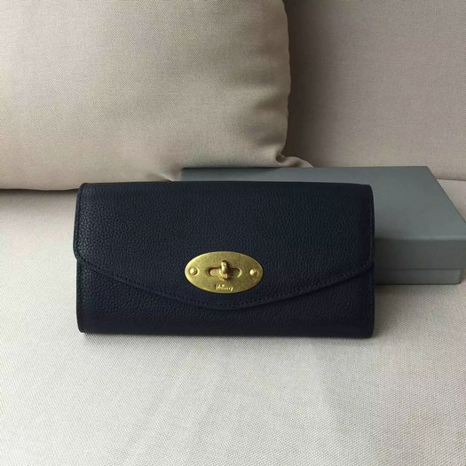 2016 A/W Mulberry Postman's Lock Long Wallet Black Grain Leather