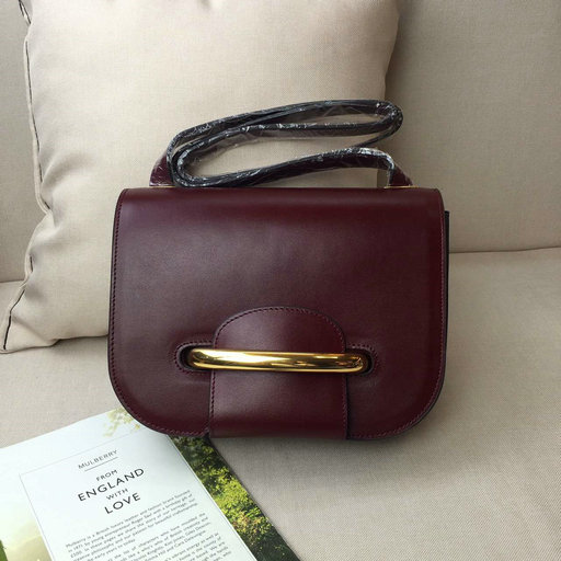 2016 A/W Mulberry Selwood Satchel Bag Burgundy Crossboarded Calf Leather