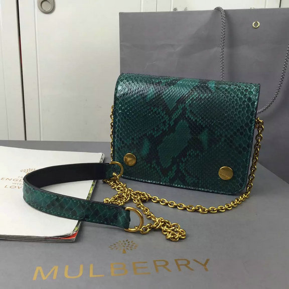 2016 Autumn/Winter Mulberry Small Clifton Crossbody Bag in Emerald Python & Nappa Leather