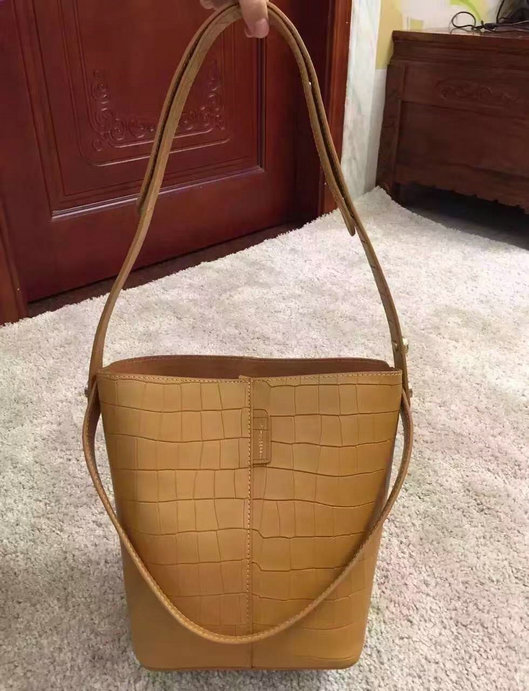 2016 Spring Mulberry Small Kite Tote Bag in Camel Deep Embossed Croc Print Leather