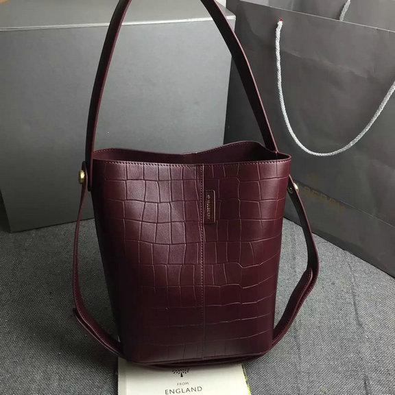 2016 Spring Mulberry Small Kite Tote Bag in Oxblood Deep Embossed Croc Print Leather