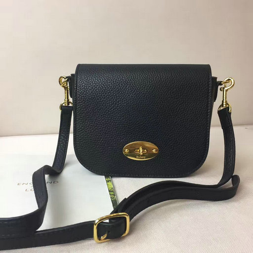 2017 Spring Mulberry Small Darley Satchel Black Classic Grain Leather