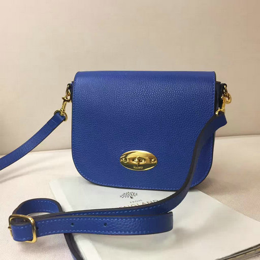 2017 Spring Mulberry Small Darley Satchel Blue Classic Grain Leather